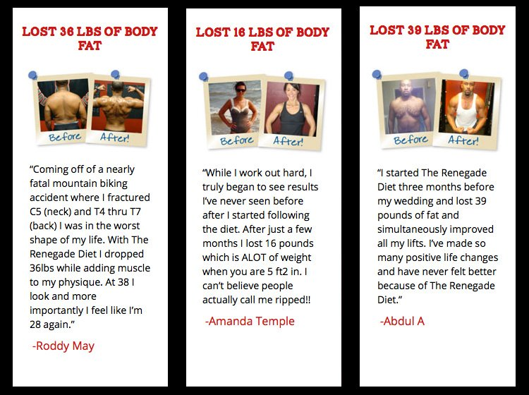 The Renegade Diet Review Testimonials